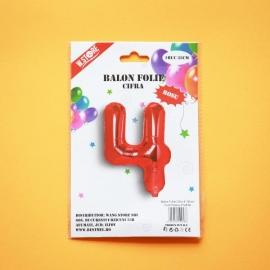 Balon Rosu Cifra 4 35cm 012918
