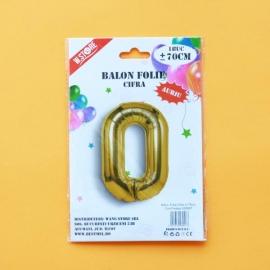 Balon Folie Auriu Cifra 0 70cm 028957