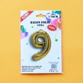Balon Folie Auriu Cifra 9 70cm 028966