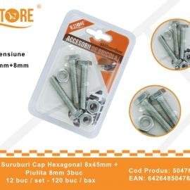 Set Suruburi Cap Hexagonal 8x45 mm + Piulita 8 mm BRI0122