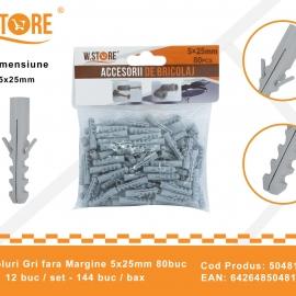 Set 80 Dibluri Fara Margine 5x25 mm BRI0149