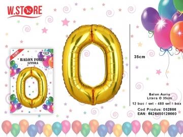 Balon Auriu Litera O 35cm 012866