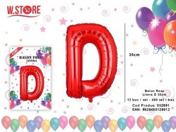Balon Rosu Litera D 35cm 012891