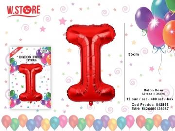 Balon Rosu Litera I 35cm 012896