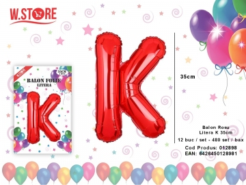 Balon Rosu Litera K 35cm 012898