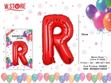 Balon Rosu Litera R 35cm 012905