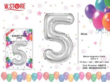 Balon Argintiu Folie Cifra 5 025575