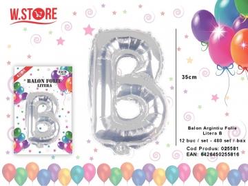 Balon Argintiu Folie Litera B 025581