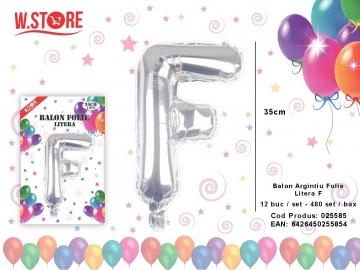 Balon Argintiu Folie Litera F 025585