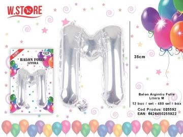 Balon Argintiu Folie Litera M 025592