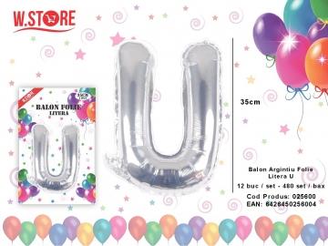 Balon Argintiu Folie Litera U 025600