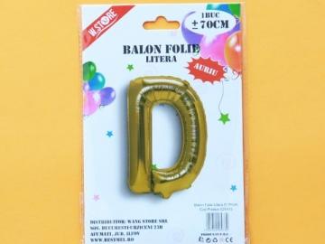 Balon Folie Auriu Litera D 70cm 028933
