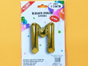 Balon Folie Auriu Litera M 70cm 028942