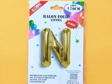 Balon Folie Auriu Litera N 70cm 028943