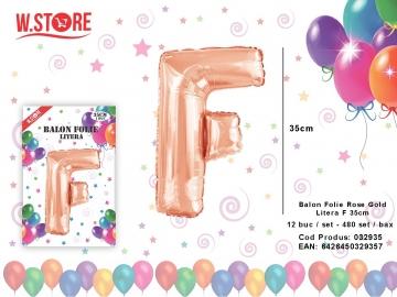 Balon Folie Rose Gold Litera F 35cm 032935