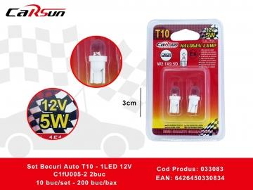 Set Becuri Auto T10 - 1LED 12V C1fU005-2 2buc 033083