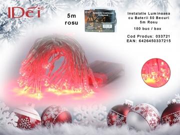 Instalatie Luminoasa cu Baterii 50 Leduri 5m Rosu 033721