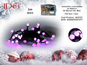 Instalatie Luminoasa cu Baterii 30 Becuri 3m Mov 033727