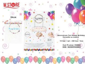 Decoratiune Tort Happy Birthday Coronita cu Lumini 034840