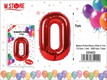 Balon Folie Rosu Cifra 0 /1m 035422