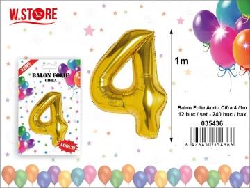 Balon Folie Auriu Cifra 4 /1m 035436