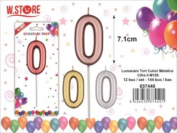 Lumanare Tort Culori Metalice Cifra 0 M155 037440