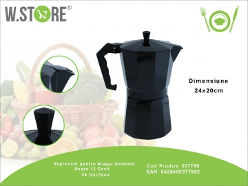 Expressor pentru Aragaz Aluminiu Negru 12 Cesti 037766