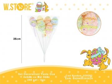 Set Decoratiuni Paste Oua 4x6cm cu Bat 6buc 039263