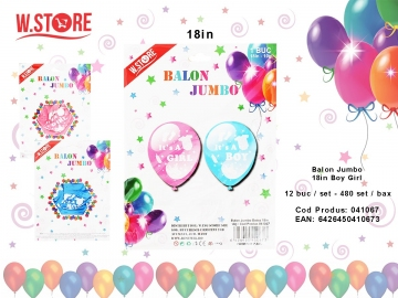 Balon Jumbo 18in Boy Girl 041067