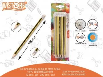 Set Creioane cu guma de sters 12buc 042409