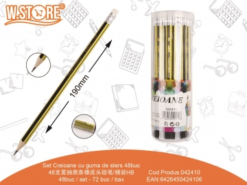Set Creioane cu guma de sters 48buc 042410