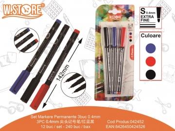 Set Markere Permanente PE413 3buc 0.4mm 3Culori 042452