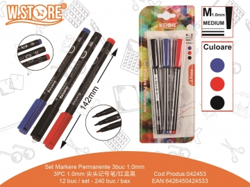 Set Markere Permanente PE413 3buc 1.0mm 3Culori 042453