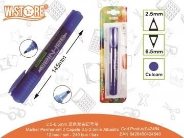 Marker Permanent 2 Capete 6.5-2.5mm PE465 Albastru 042454