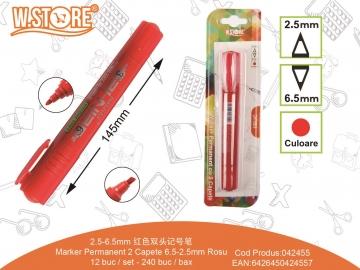 Marker Permanent 2 Capete 6.5-2.5mm PE465 Rosu 042455