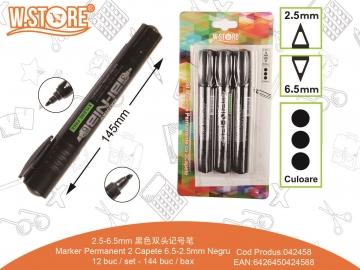 Set Markere Permanente 2 Capete 6.5-2.5mm 3buc Negru 042458