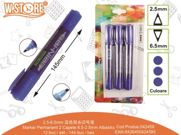Set Markere Permanente 2 Capete 6.5-2.5mm 3buc Albastru 042459