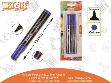 Set Markere Permanente 2-3mm Albastru 2buc 042462