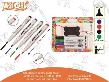 Set Markere pentru Tabla 4buc + Burete de Sters 042466