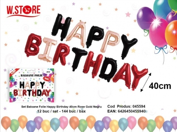 Set Baloane Folie Happy Birthday 40cm Rose Gold Negru