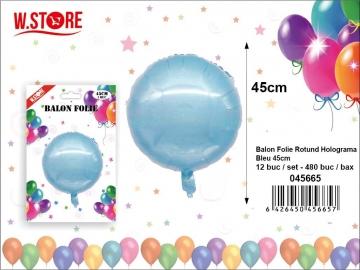 Balon Folie Rotund Holograma Bleu 45cm 045665