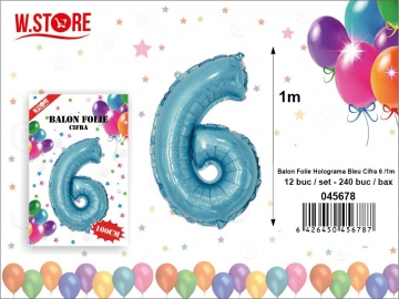 Balon Folie Holograma Bleu Cifra 6 1m 045678