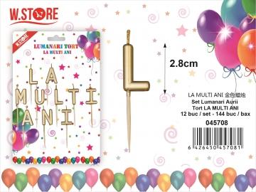 Set Lumanari Aurii Tort La Multi Ani 045708