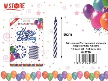 Set Lumanari Tort cu suport si placuta Happy Birthday Albastru 045720