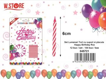 Set Lumanari Tort cu suport si placuta Happy Birthday Roz 045721