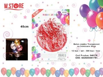 Balon Jumbo Transparent cu Inimioare 45cm 046178