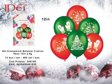 Set Aranjament Baloane Craciun 6buc 12in 2.8g 046183