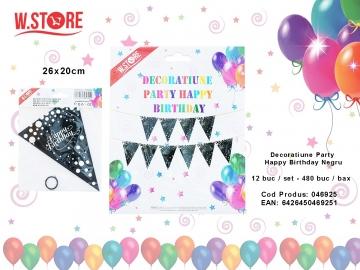 Decoratiune Party Happy Birthday Negru 046925