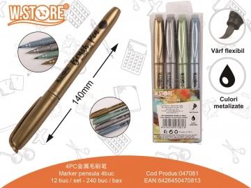 Set Markere tip pensula Culori Metalice 4buc 047081