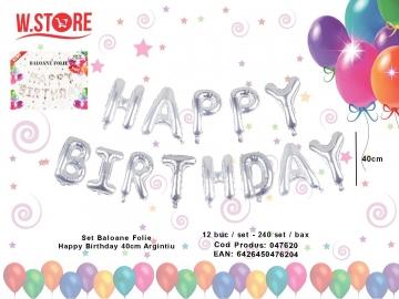 Set Baloane Folie Happy Birthday 40cm Argintiu 047620